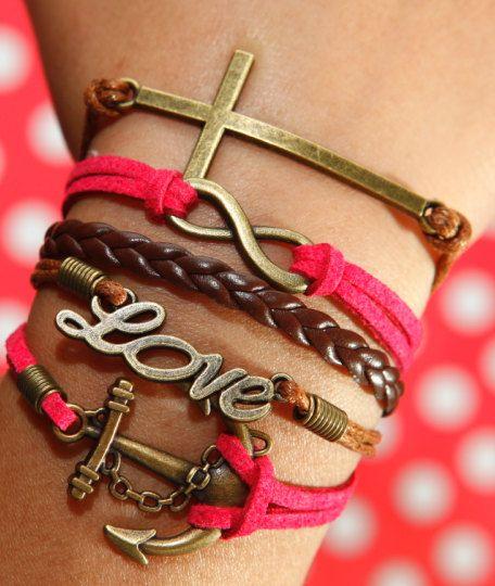 Love Bracelet, Cross Bracelet, Infinity Karma Bracelet, Anchor Bracelet, Rose Red Flocking Leather Bracelet, Brown Braided Leather Bracelet. $5.29, via Etsy.