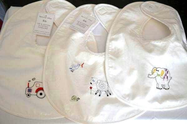 Beautiful embroidered baby bibs by Nocturnal Affair