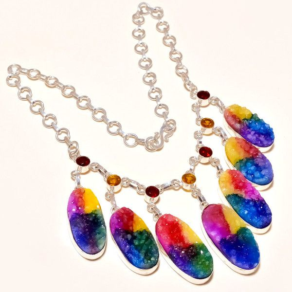 Charm Necklaces – 925 Sterling Silver Multi Color Gem Stone Necklace – a unique product by IndianCraftPalace on DaWanda