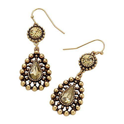 Crystal Teardrop Bubble Design Dangle Earrings (Lt Topaz)