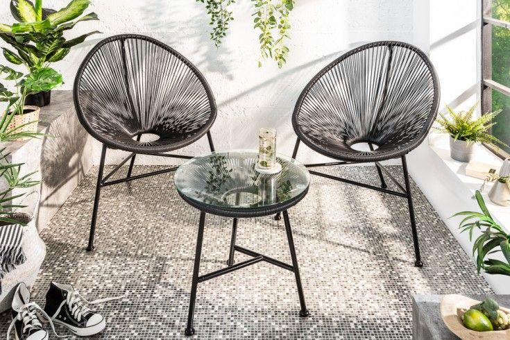 Elegante Gartensitzgruppe Acapulco Schwarz Gartensessel Mit