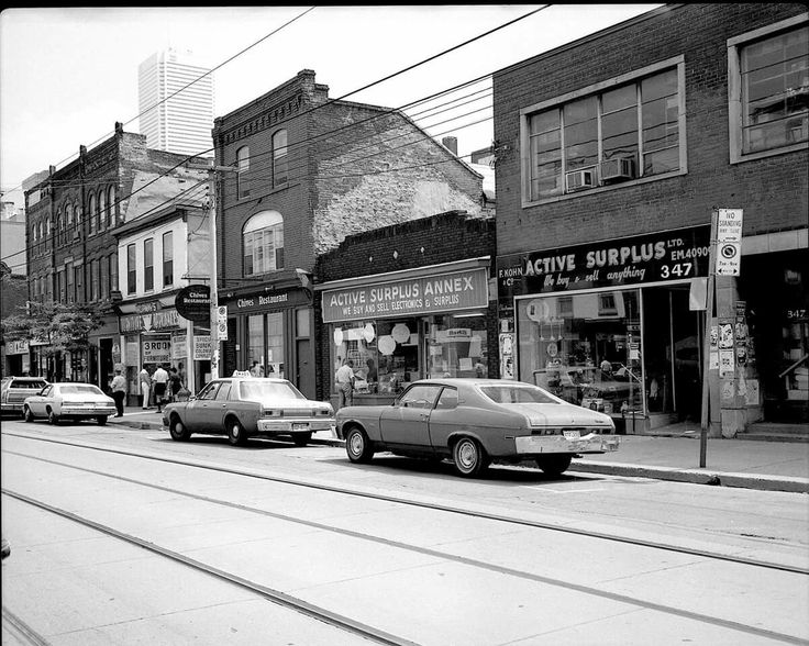South side of the 300 block of Queen Street West, Toronto, early 1980s. - Courtesy of Don Dickinson.