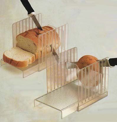 """Bread and Bagel Slicer Guide (Clear) (6""""H x 6"""" W x 9""""D) by Acrylic Plastic Products. $31.94. Ideal for bread machines because it holds even larger loaves at the perfect angle for slicing.. Size: 6""""H x 6"""" W x 9""""D. Color: Clear. A handy bagel slicing insert is included for added convenience! Dishwasher safe.. This clear acrylic bread slicer guides you perfect size slices of bread every time.. This clear acrylic bread slicer guides you perfect size slices of bread..."""