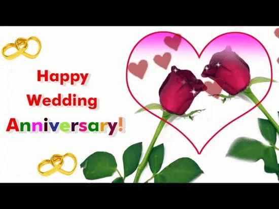 A beautiful animated Happy Wedding Anniversary Greeting E-card With roses and heart .