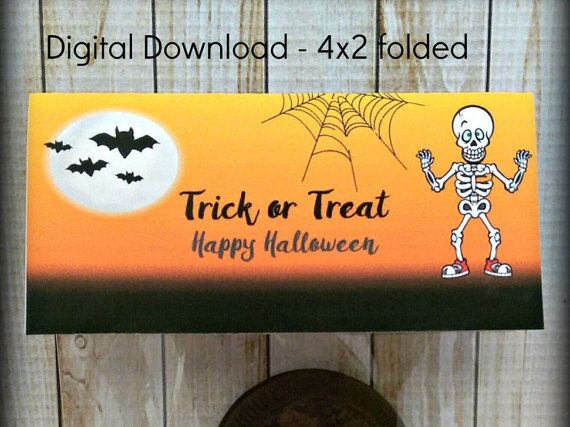halloween treat bag toppers skeleton bag topper candy bag topper bat treat bag topper instant download - Pictures That Say Happy Halloween