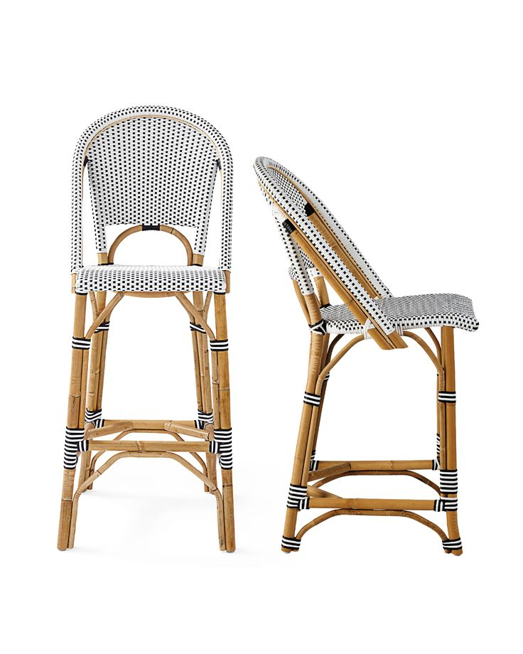 The classic 1930s European bistro chair, reinterpreted and elevated to new heights. Handcrafted of lightweight rattan and woven plastic seats, our take is fabulously family-friendly and great for the kitchen or the patio. (Just remember to store it indoors when the rains come.) Following a time-honored technique perfected by the French, we've stretched and shaped the frame by hand, creating subtle organic marks on the natural rattan. For added versatility, a slight variation in how the…