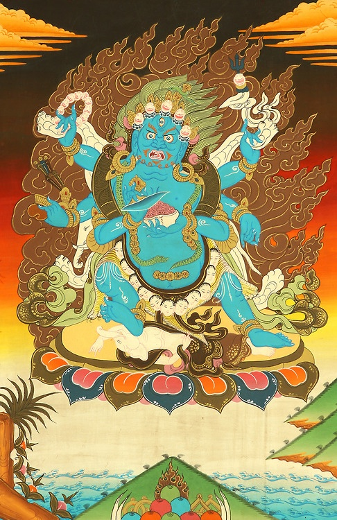 The Six-armed Mahakala is favored by the Gelug order of Tibetan Buddhism, and in this manifestation is considered to be a fierce and powerful emanation of Avalokiteśvara, the bodhisattva of compassion. tumblr_mdazxx6GXg1r4p4ago1_500.jpg (486×750)
