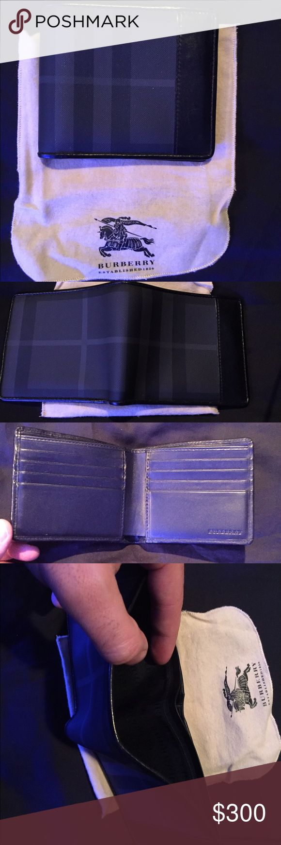 Authentic Burberry Wallet Authentic Men's Burberry BiFold Wallet. In great condition, minor scuffage on the leather trim as seen. 11 x 9cm/4.3 x 3.5in and 6 card slots and room for cash. Used only a handful of times. NO lowball offers. NO trades. Burberry Bags Wallets