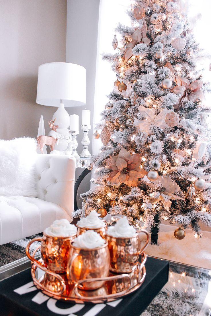 Blush Pink Rose Gold White Christmas Decor Christmas Decorations Apartment Christmas Apartment White Christmas Decor