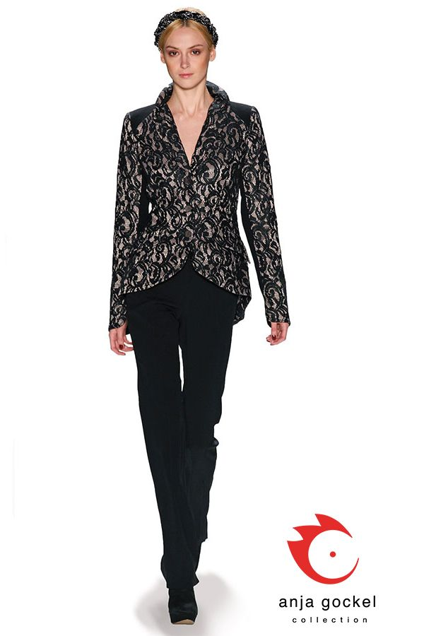 Classic business outfit upgraded through the beautiful black lace jacket