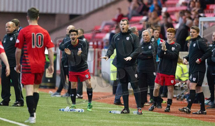 Queen's Park's bench celebrate David Galt's goal during the SPFL League One play-off game between Clyde and Queen's Park.