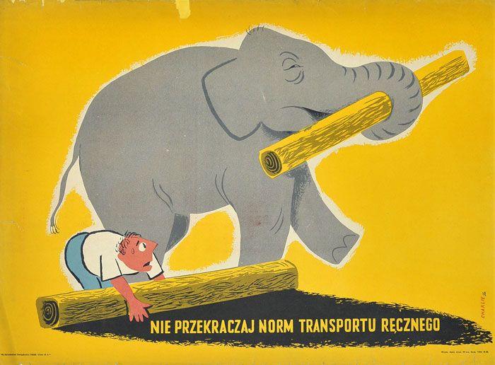 """plakat społeczny BHP """"Nie przekraczaj norm transportu ręcznego"""" . Projekt: KAROL FERSTER CHARLIE, 1956"""
