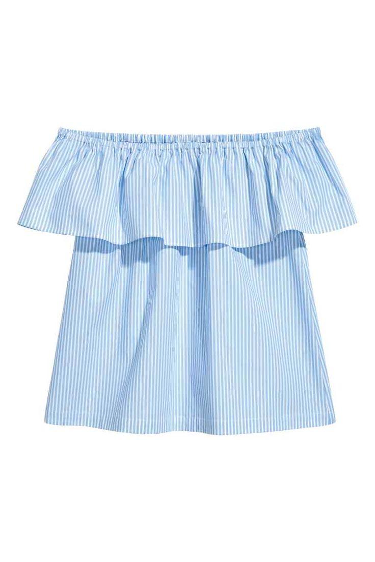 Blusa de ombros descobertos - Azul claro/Riscas - SENHORA   H&M PT