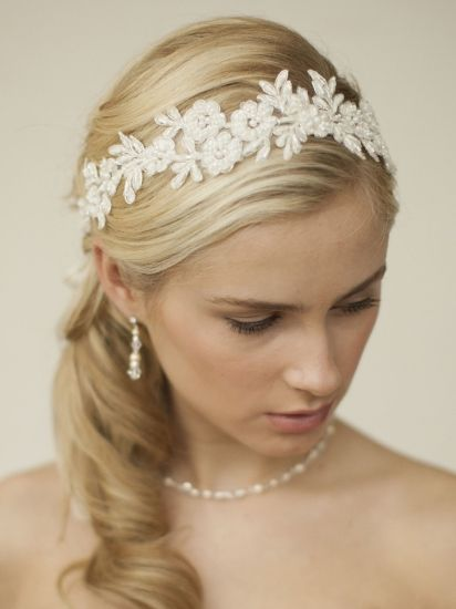 Bridal ribbon - Daisy lace Romantisk hårdekoration / hårband i spets!
