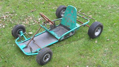 "I had a ""Go Kart"" with this type of frame. Mine was red and had a hood with red stripes covering the front  , the steering wheel was white. It was pimped out! I loved that thing! Pedaled it all over the place as a kid."