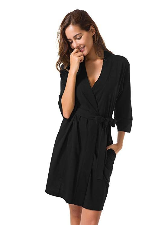 fe4c5adc914f SIORO Cotton Robes Lightweight Kimono Robe Gowns Soft Knit Bathrobe  Nightwear V-Neck Loungewear Sexy Sleepwear Short for Women