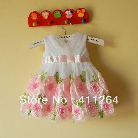 3 stuks/partij( 0- 2y) groothandel baby prinses jurk baby meisjes roze roos bloem jurk baby doop jurk verjaardag jurk