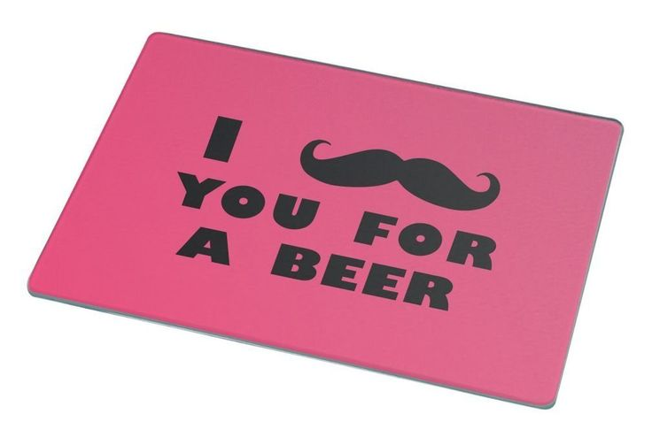 Rikki Knight I Mustache You For a Beer Tropical Pink Color Large Glass Cutting board Workspace Saver (Ideal Gift for Barbecues Grills or any occassion) -- Quickly view this special  product, click the image : Cutlery Knife Accessories