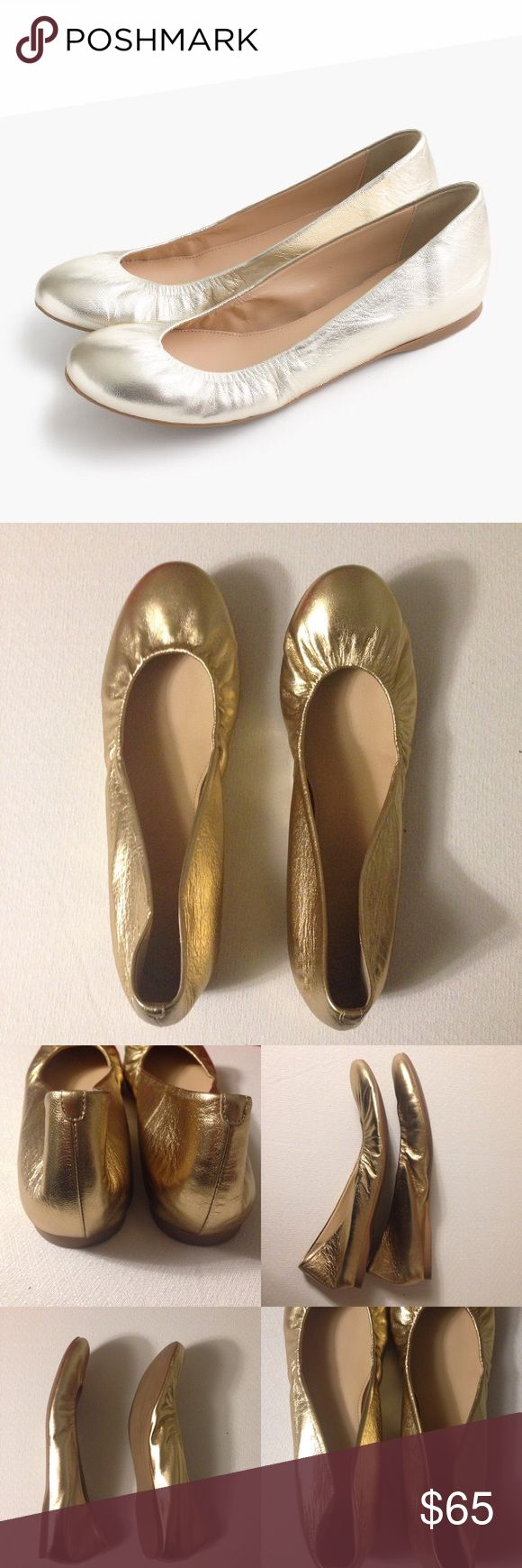 J. Crew Gold Ballet Flats - Cece Metallic Flats J. Crew Gold Ballet Flats - Cece. Excellent Pre-Worn Condition. No Visible Stains, Fading or Flaws. Retail $135.00 #0212172601 ✨Please keep in mind that measurements are provided only as a guide and are approximate.  Color appearance may vary depending on your monitor settings. J. Crew Shoes Flats & Loafers