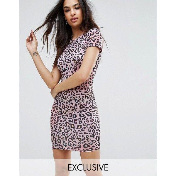 Multicolor animal print bodycon dress
