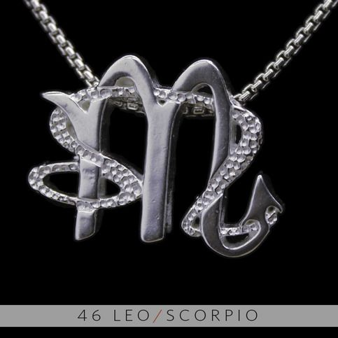 """The Leo/Scorpio Unity Pendant is a beautiful and meaningful way to share and express the love between a Leo and a Scorpio . Unity Pendants are cast in Bronze with a thick Sterling Finish and come with a SIlver finished necklace. Also presented in a truly unique two metal (pure silver and antique bronze) pendant as a special order. Please feel free to contact us with any questions or ideas.  <a href=""""http://unitydesignconcepts.weebly.com/46-video.html"""">Compatibility</a>"""