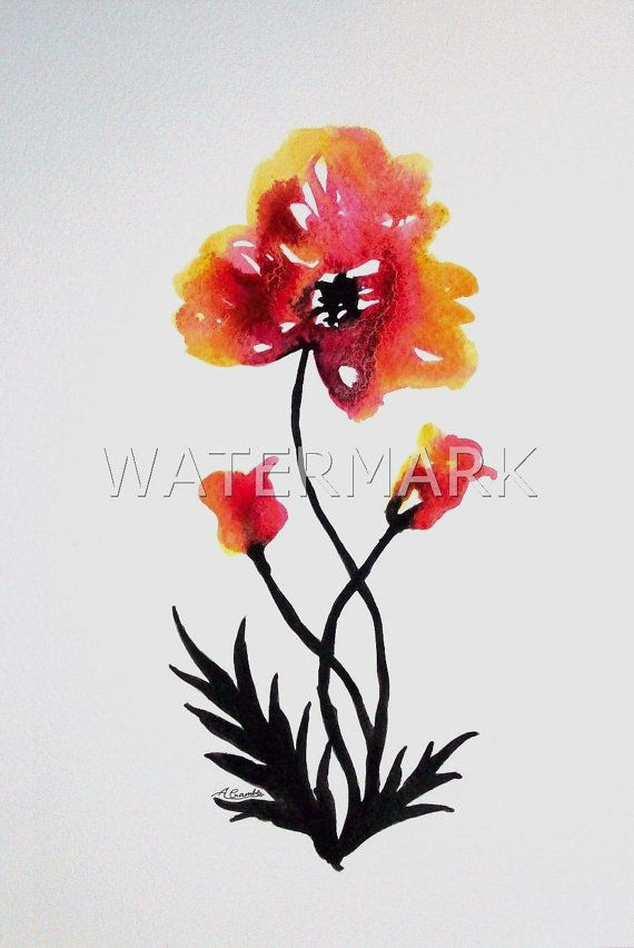 Abstract Flower / Poppy , original watercolour (not print) on 300g paper approx: 12 x 8inch / 31 x 20cm. FREE SHIPPING $44.00 USD
