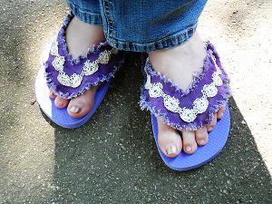 Denim and Lace Flip Flops | FaveCrafts.com