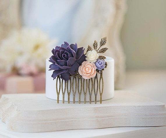Purple and Pink Wedding Hair Accessory Bridal Hair Comb by LeChaim