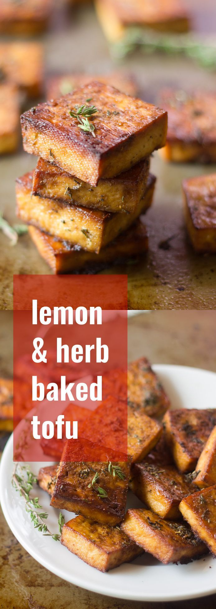 This flavor-packed baked tofu is soaked in a marinade of zesty lemon juice, zippy garlic, and savory herbs, then baked to perfection. It's perfect stuffed in a sandwich or sprinkled on salad!