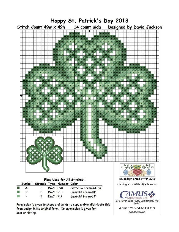 "Celtic Shamrock by Claddagh Cross Stitch via Camus International. ""5th in the set. Permission is given to pin."""