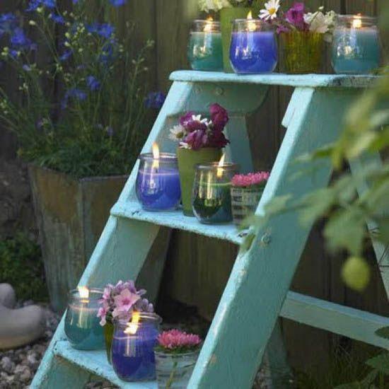 garden decor   ... garden design. Wooden ladders make excellent garden decorations, plant