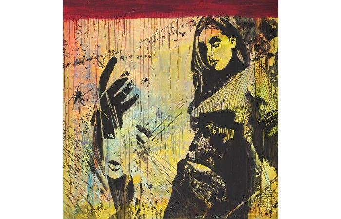 LOT 74 - MIRELA TRĂISTARU - Dark [2010] - Acrylic on canvas - 120 × 120 cm (47.2 × 47.2 inch) - Estimate €1,000 - €1,500 http://lavacow.com/current-auctions/lavacow-christmas-auction/dark.html#sthash.h6i14pJL.dpuf