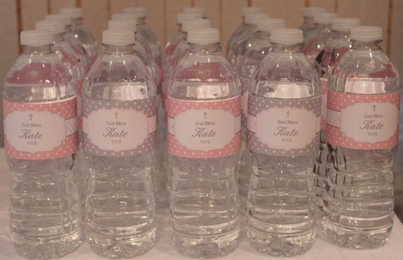 Polka Dot Baptism- Pink and Grey Water Bottle Wrappers- Print your own on Etsy, $7.00