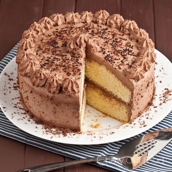 Tender Yellow Cake with Chocolate Whipped Cream Frosting - I keep a small bowl of this frosting hidden, just for myself!  The cake is moist and tender, super easy!