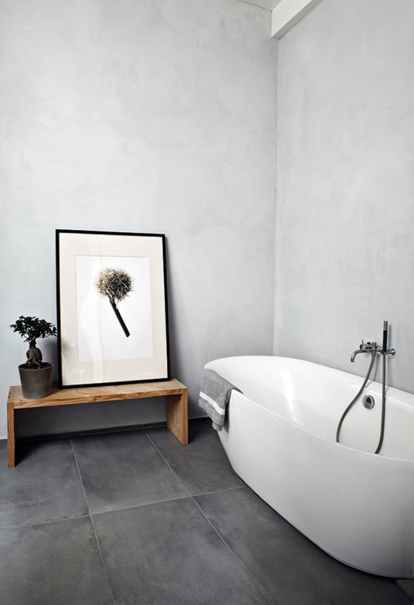 minimalist bathroom with free-standing tub