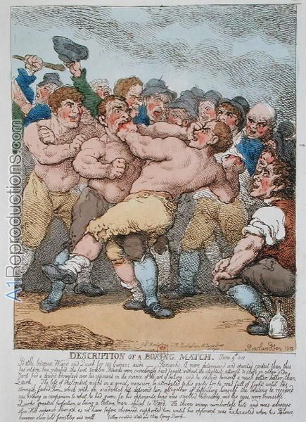 """Detail of two Englishmen Boxing. The father of """" boxing rules"""" was Jack Broughton England in 1734 he formed the first boxing code which forbid eye gouging and hitting a fallen opponent when he was down, but left wide latitude for wrestling and rough and tumble fighting. """"Broughton's Rules"""" governed boxing from 1734 until 1838, under the reformed named """"London Prize Ring Rules"""", which stated that a round ended when one fighter went down or his knee touched the ground. Broughton also…"""