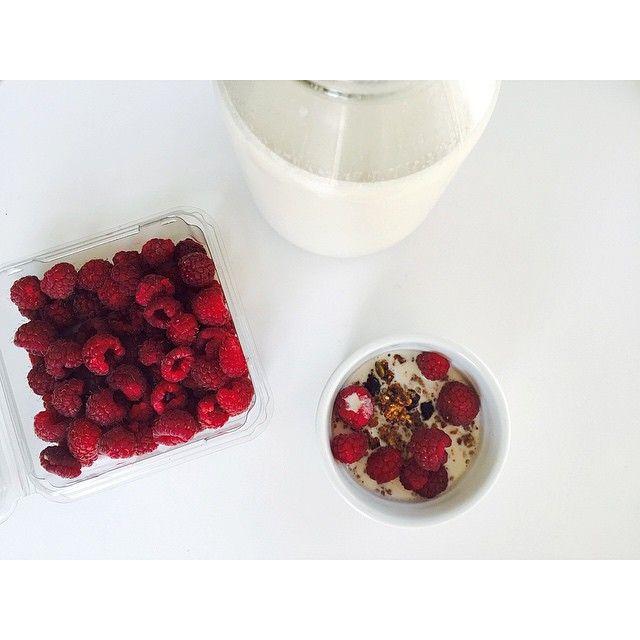 Homemade almond milk and freshly picked raspberries calls for a graNOLA break...