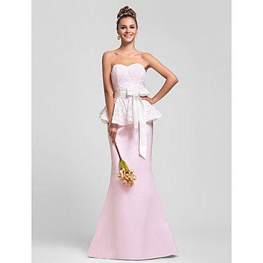 trompete / sereia namorada do assoalho-comprimento peplum rendas e cetim vestido de dama de honra com faixa / fita – BRL R$ 190,66