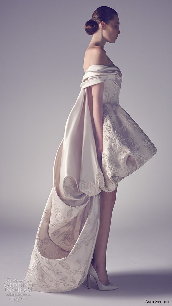 ashi studio couture 2015 off the shoulder bubble hem luxurious  high low mullet dress side view
