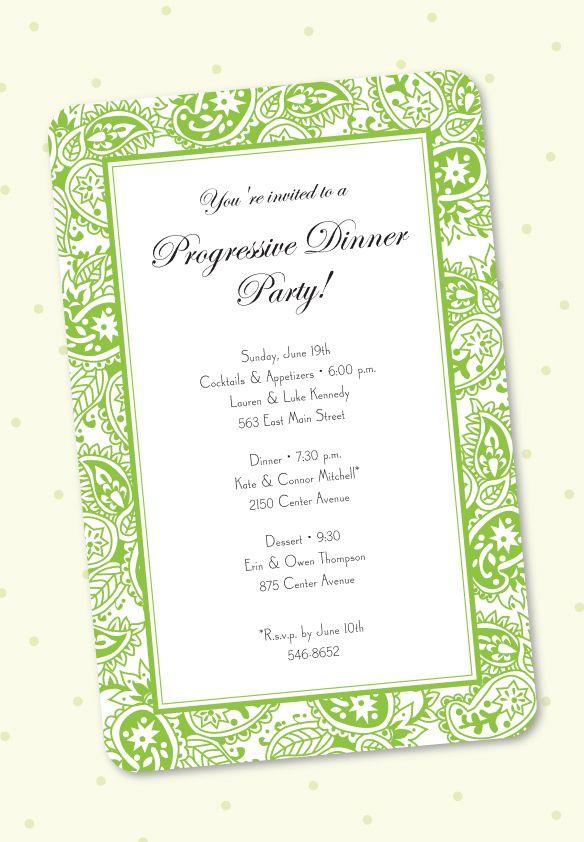 Dinner Custom Party Progressive Invitations Best