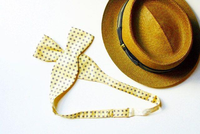 Vintage Silk Bowtie - Yellow, Blue Cheque, Red Flower Design, Summer Style for Him, Groomsmen, Wedding Accessories, Mens Fashion by msjeannieology on Etsy
