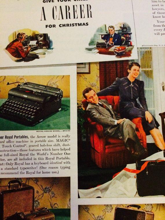 Christmas Ad Royal Portable Typewriter 1940s + RCA Radio Ad on back  👁→ etsy.com/listing/481889652  etsy ❍ etsy.com/shop/museum83 facebook ▷facebook.com/museum83 twitter ❍ twitter.com/museum_83 pinterest ▷pinterest.com/museum83  #ChristmasAd1940s #CollectibleWallArt #PosterSize #VintageAd1940 #LifeMagazine #Typewriter #PortableTypewriter #RoyalDeLuxe #RCARadio #XmasAd #XmasGift