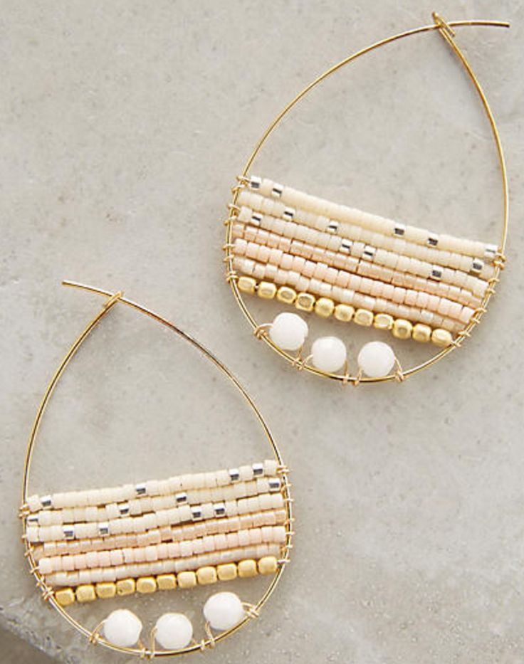 Gold teardrop hoops with nude toned seed bead detail