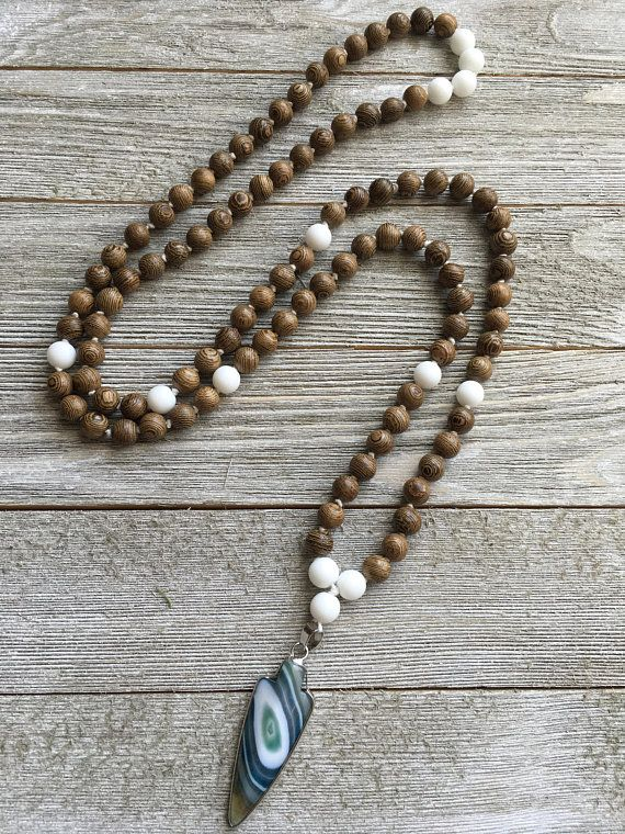 Wood and White Obsidian Hand Knotted Mala 108 Beads Mala