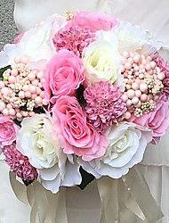 Kwiaty ślubne Zaokrąglanie Róże Bukiety Ślub Party / Wieczór Satyna 11,02