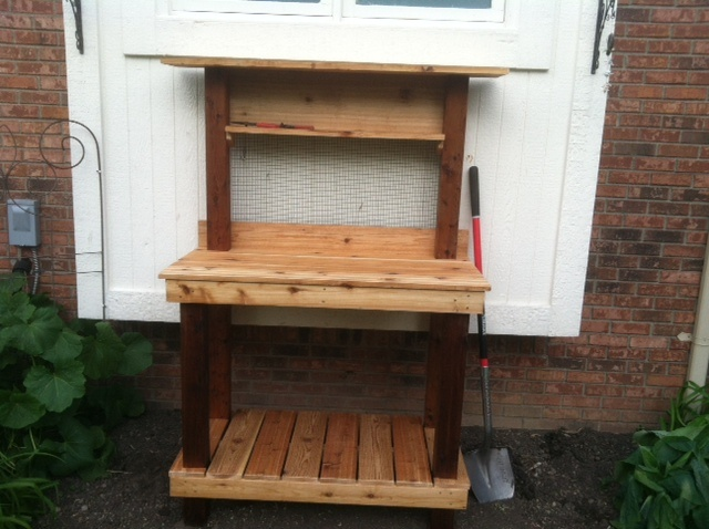 Potting Bench - Home made w/cedar. About 6 hours build time including oil finish and assembly. Now it just needs to warm up!