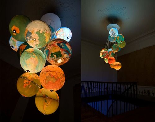 A unique chandelier created out of discarded world globes, by Benoit Vieubled. Recycling never looked so fine.Lights Fixtures, Kids Room, Travel Room, Interiors Design, Room Ideas, World Globes, Cool Ideas, Design Home, Ceilings Decor