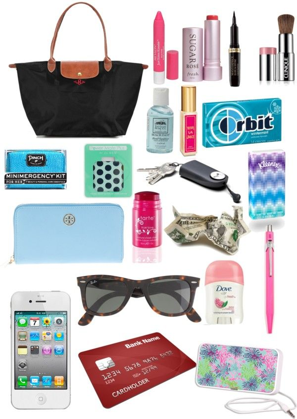 """what's in my long champ"" by cseelhorst ❤ liked on Polyvore"
