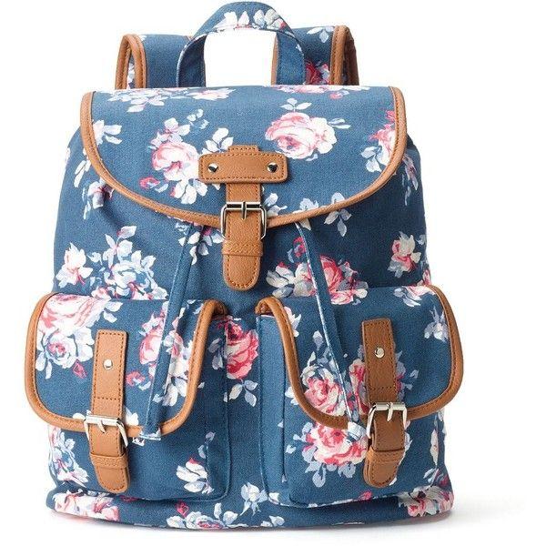 Candie's Parker Denim Roses Backpack (Blue) (15.965 CRC) ❤ liked on Polyvore featuring bags, backpacks, backpack, blue, floral rucksack, floral backpack, drawstring backpack, candie's and floral bag