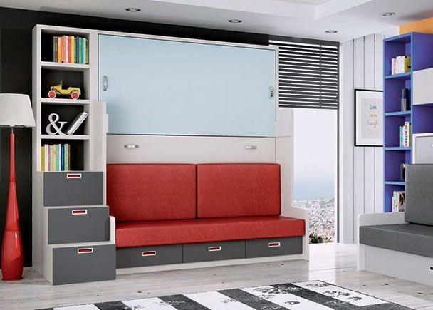 Compacto con litera abatible horizontal y sofá.
